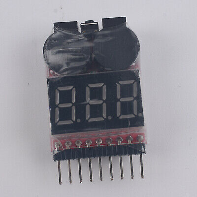 New 1-8S 2 in1 RC Li-ion Lipo Battery Low Voltage Meter Tester Buzzer Alarm New