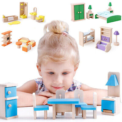 Kids Wooden Dolls House Furniture Miniature Family Living Room Set Doll Toy Gift