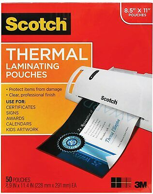 100Pack Scotch Thermal Laminating Pouches, 8.9x11.4Inches, 3 mil thick