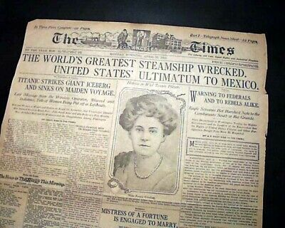 White Star Line RMS TITANIC SINKING 1st Report w/ Women Lifeboats 1912 Newspaper
