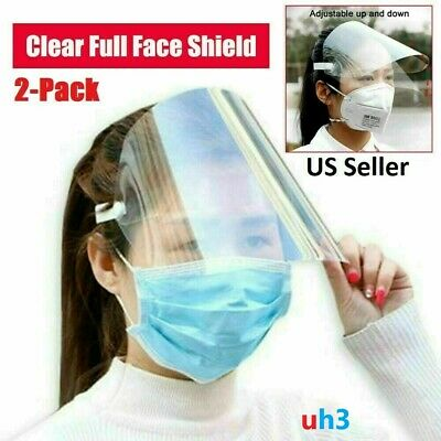 2 PACK SAFETY FACE SHIELD Full Face Shield Cover Face Protector USA Seller