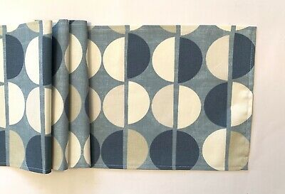 """blue and white circle design fabric table runner 11"""" x 53"""""""