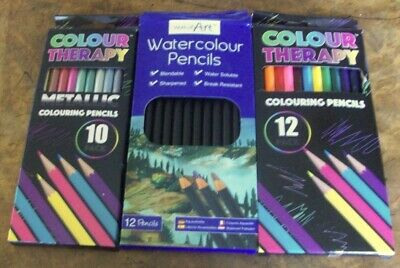New Colour Therapy Pencil Crayons Metallic Crayons & Water Colour Crayons 3 Pack