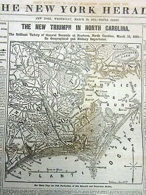 1862 newspaper with large detailed CIVIL WAR MAP of NORTH CAROLINA Outer Banks