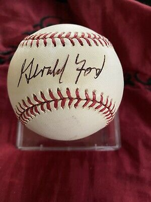 Gerald Ford Signed Rawlings 1994 World Series Baseball PSA/DNA Letter