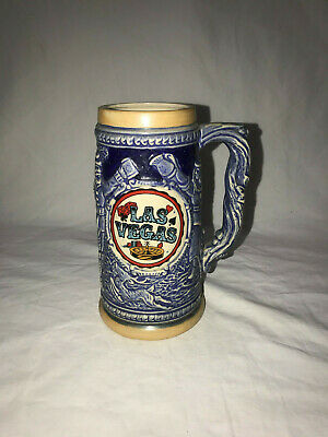 "Las Vegas Collectible Beer Stein Made Japan 7"" Tall Vintage"
