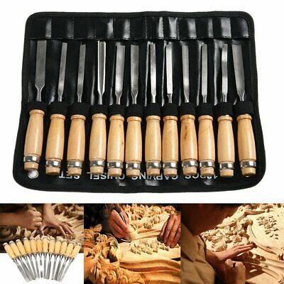 12 Pcs Wood Carving Hand Chisel Tool Set Professional Woodworking Gouges Steel