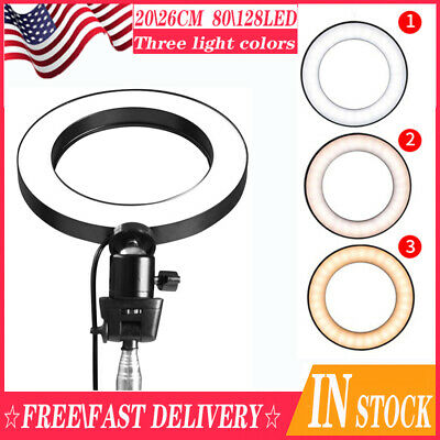 LED Ring Light Lamp Selfie Camera Phone Studio Tripod Stand Video Dimmable-USA
