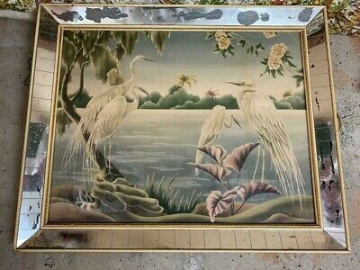 Vintage 1950's Retro Heron Egrets Picture by Turner Wall Mirror
