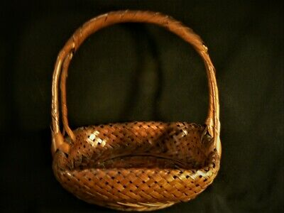 Fine  Antique Old Japanese signed Japan IKEBANA Woven Intricate Asian BASKET