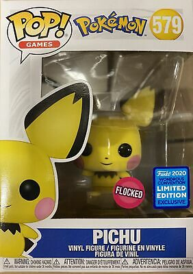 "Funko Pop Games 3.75"" Pokemon Pichu Flocked #579 Wondrous Con Exclusive In Stock"