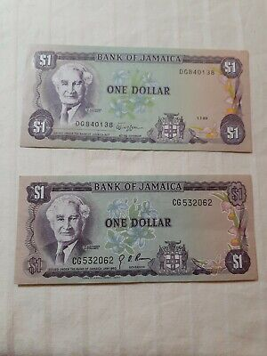 2 Pc. ☆ 1960 Jamaica Banknotes (1, Circulated & 1 Uncirculated)