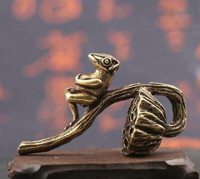 old brass Hand carved Lotus seed frog incense ornament Statue figure collectable