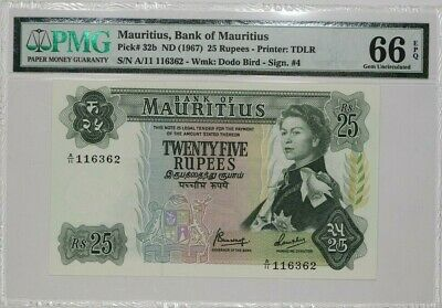 1967 BANK OF MAURITIUS 25 RUPEES PMG 66 GEM UNCIRCULATED PICK# 32b EPQ (051)