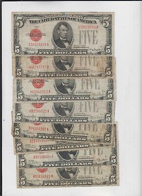 U.S. Note Red Seal $5 1928's  8 notes lower grade and up