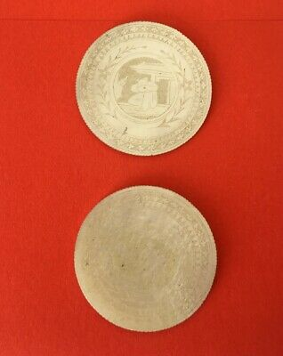 2 Jetons Chinois En Nacre -Qing 19Th- Chinese Mother Of Pearl Gaming Tokens....