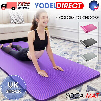 Extra Thick Yoga Mat 15mm Non Slip Exercise Pilates Gym Picnic Camping Straps UK