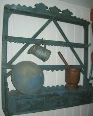 Outstanding Antique Primitive Cupboard With Drawers Best Old Blue Paint Aafa  Nr
