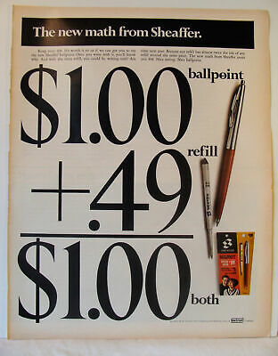 1966 Vintage The New Math from Sheaffer Ballpoint Refill or Both Photo Print Ad