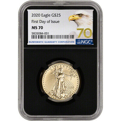 2020 American Gold Eagle 1/2 oz $25 - NGC MS70 First Day of Issue Grade 70 Black