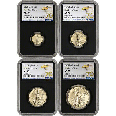 2020 American Gold Eagle 4-pc Year Set - NGC MS70 First Day Issue Grade 70 Black