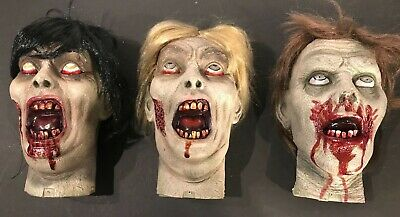 Set of 3x Zombie Teenager Gory Prop Heads Haunted House
