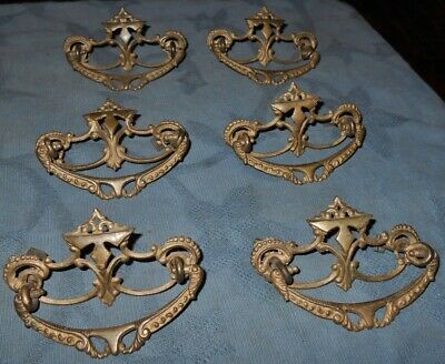 Great Set of  6  Ornate Antique  Thicker Metal  Drawer Pulls