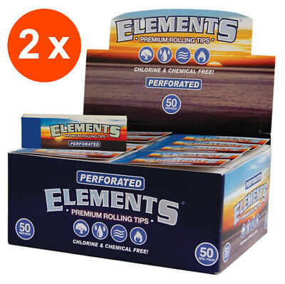 ELEMENTS 100 x 50 Premium Tips perforiert | 2 Boxen Slim Filter Tips Drehfilter