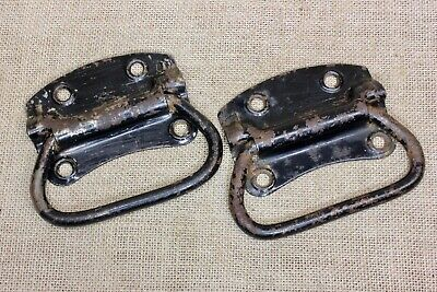 "2 old Tool Box drop Handles drawer 4 7/8"" Pulls vintage light rustic steel USA"