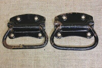 "2 old Tool Box drop Handles drawer 4 7/8"" Pulls vintage light rust steel USA"