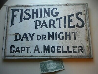 """Rare Early painted 20th Century """"DAY or Night Fishing Party"""" Charter Trade Sign"""