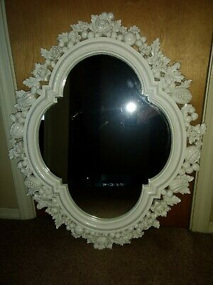 "Vintage 1966 Syroco White Clover Wall Mirror Heavy Large 30"" x 24"""