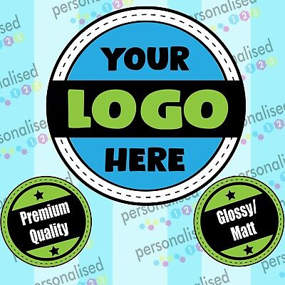 Personalised Logo Stickers Custom Business Labels Round Glossy Printed Address