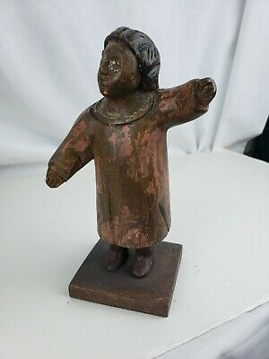 Superb old polychrome carved wood figurine, ca. 1900, Mexico?