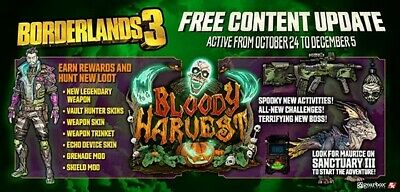 PS4-Xbox Borderlands 3 Modded Bloody Harvest Collection-Weapons/Heads/Skins+More