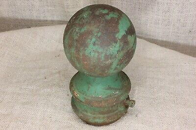 "old finial post top lamp 3 3/4"" cannon ball flag pole fits 2 3/8"" pipe vintage"