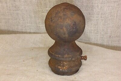 "old finial post top lamp 3 3/4"" cannon ball flag pole for 2 3/8"" pipe rusty iron"