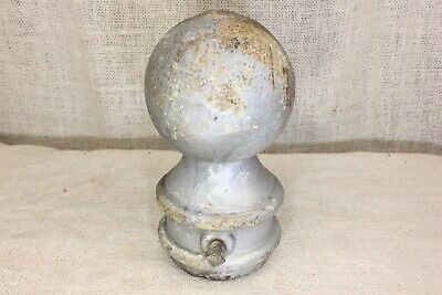 "old finial post top lamp 3 3/4"" cannon ball flag pole for 2 3/8 pipe silver iron"
