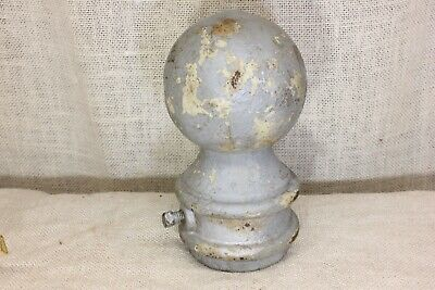 "old Finial Post Top Lamp 3 3/4"" cannon ball flag pole for 2 3/8"" pipe gray iron"