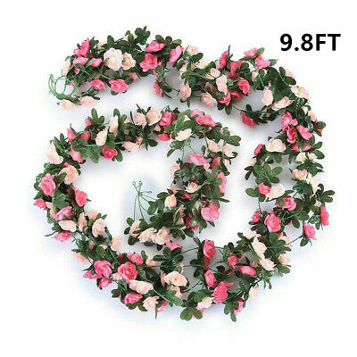 Artificial Silk Rose Flower Garland Floral Fake Vine Hanging Party Wedding Decor