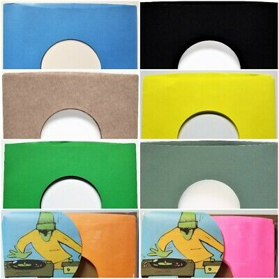 "Paper Sleeves for 7"" 45 Vinyl Records Green Yellow Brown Black Gold Blue 45rpm"
