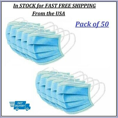50 Pack Box Disposable Blue Face Mask 3 PLY Layer Ear Loops Shipped from USA
