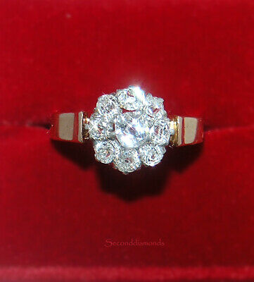 antiker Jugendstil Altschliff  Diamant Ring Platin + 750 Gold 1,00 ct Diamanten