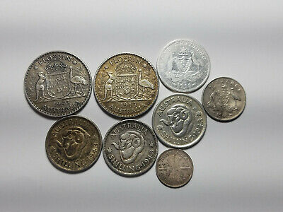 Lot of (8) Australian Silver Coins - 1.465 ozt ASW - 4 Denominations!!!