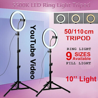 "10"" LED Studio Ring Light Photo Lamp Light for Youtube Tiktok Video Live+Tripod"