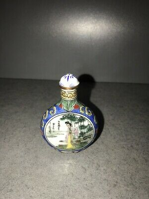 Snuff Bottle bemalt und signiert CHINA - JAPAN  emailliert