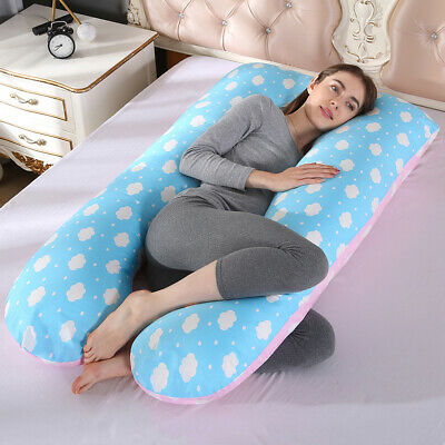 47''Comfort U Shape Sleeping Pillow Full Body Pregnancy Maternity Support (Blue)
