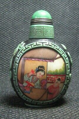 Chinese Glass Delicate Hand Painted Women And Children Snuff Bottle////**