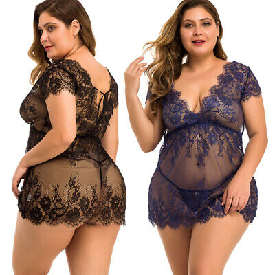 US Sexy Lingerie Women Eyelash Lace Babydoll Sleepwear Nightgown Dress G-string