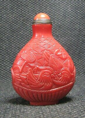 Chinese Glass Delicate Carve Mandarin Duck Design Snuff Bottle/////**